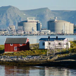 Melkøya LNG Terminal and Fishing Houses, Hammerfest, Norway